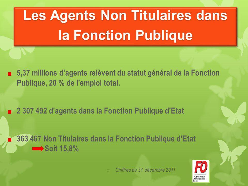 5,37 millions d'agents relèvent du statut général de la Fonction Publique, 20 % de l'emploi total. 2 307 492 d'agents dans la Fonction Publique d'Etat