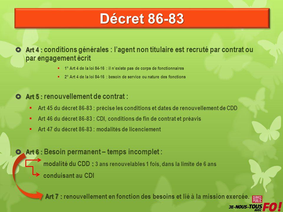 Décret 86-83  Art 4 :  Art 4 : conditions générales : l'agent non titulaire est recruté par contrat ou par engagement écrit  1° Art 4 de la loi 84-