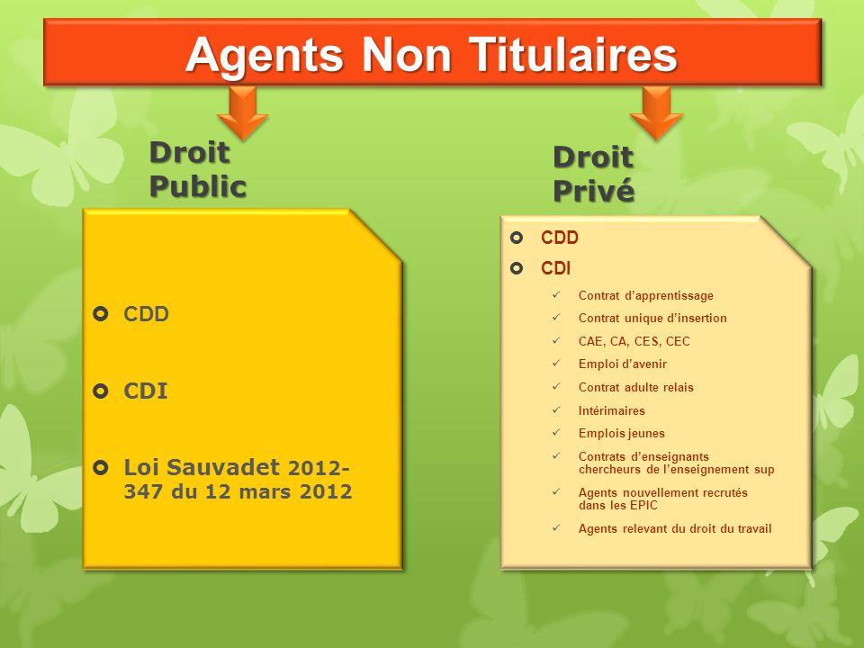 Agents Non Titulaires Droit Public  CDD  CDI  Loi Sauvadet 2012- 347 du 12 mars 2012  CDD  CDI  Loi Sauvadet 2012- 347 du 12 mars 2012 Droit Pri