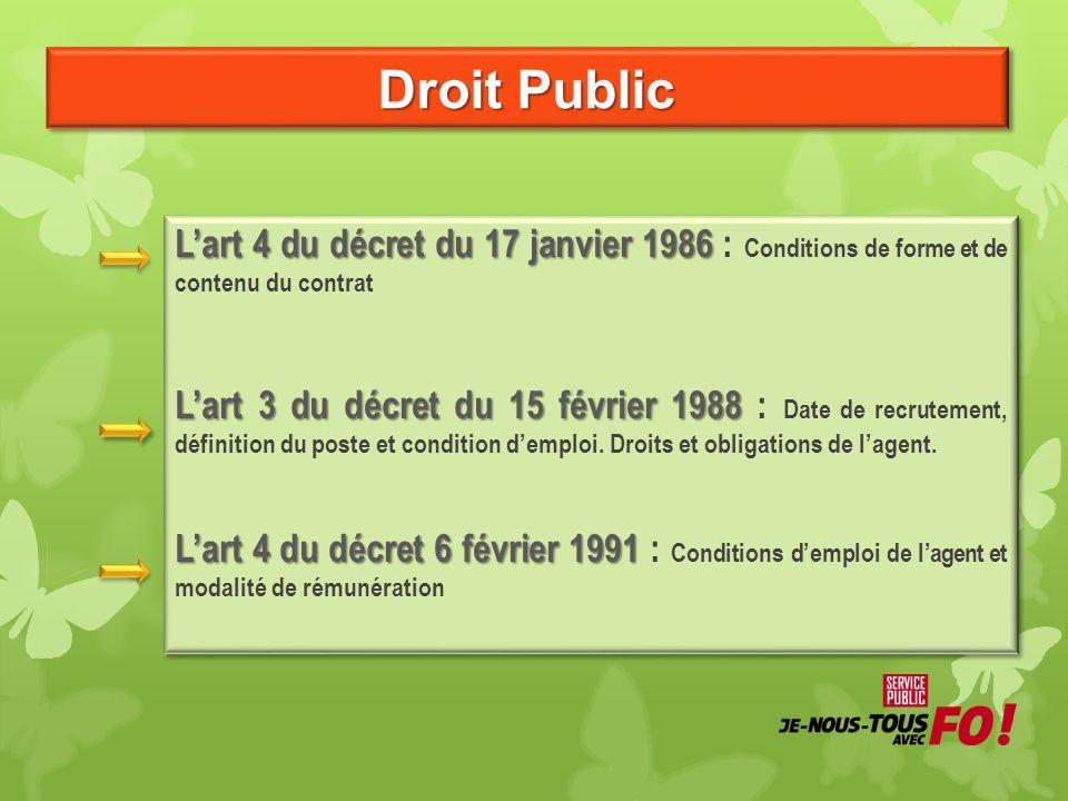 Droit Public L'art 4 du décret du 17 janvier 1986 L'art 4 du décret du 17 janvier 1986 : Conditions de forme et de contenu du contrat L'art 3 du décre
