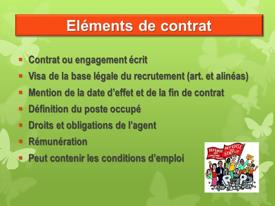 Eléments de contrat  Contrat ou engagement écrit  Visa de la base légale du recrutement (art. et alinéas)  Mention de la date d'effet et de la fin