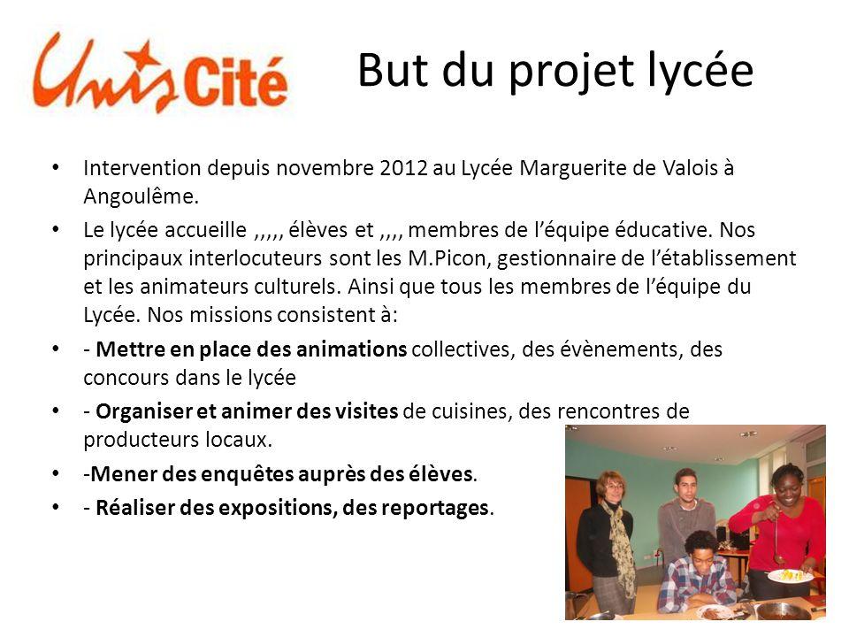 But du projet lycée Intervention depuis novembre 2012 au Lycée Marguerite de Valois à Angoulême.