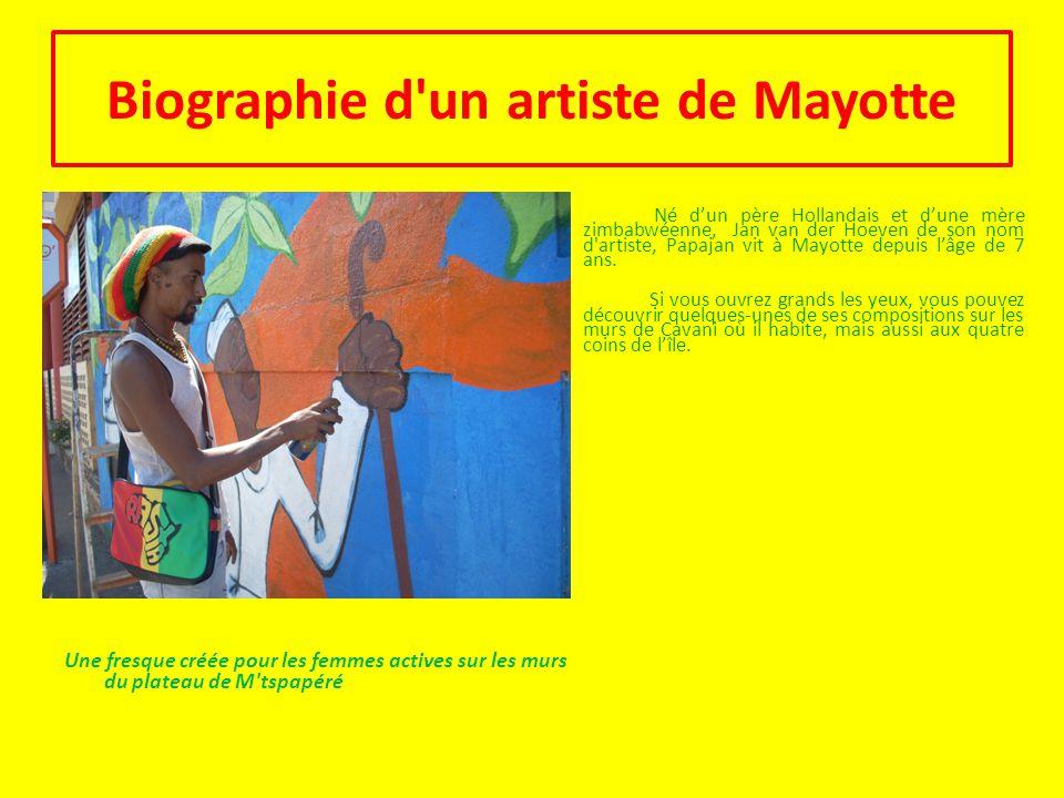 Biographie d un artiste de Mayotte Une fresque créée pour les femmes actives sur les murs du plateau de M tspapéré Né d'un père Hollandais et d'une mère zimbabwéenne, Jan van der Hoeven de son nom d artiste, Papajan vit à Mayotte depuis l'âge de 7 ans.