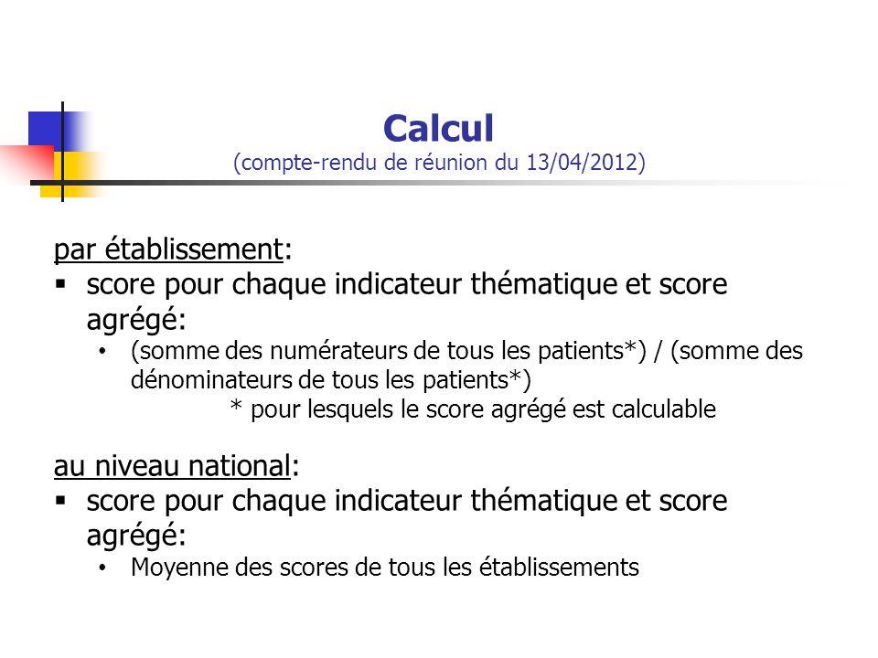 Calcul (compte-rendu de réunion du 13/04/2012) par établissement:  score pour chaque indicateur thématique et score agrégé: (somme des numérateurs de