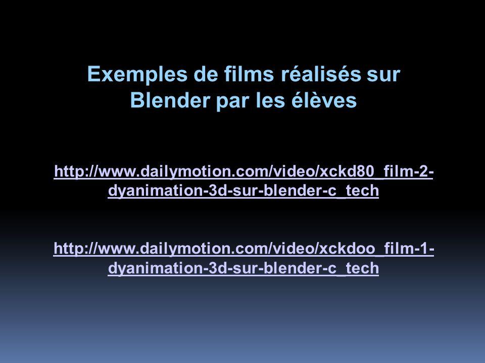 Exemples de films réalisés sur Blender par les élèves http://www.dailymotion.com/video/xckd80_film-2- dyanimation-3d-sur-blender-c_tech http://www.dailymotion.com/video/xckdoo_film-1- dyanimation-3d-sur-blender-c_tech