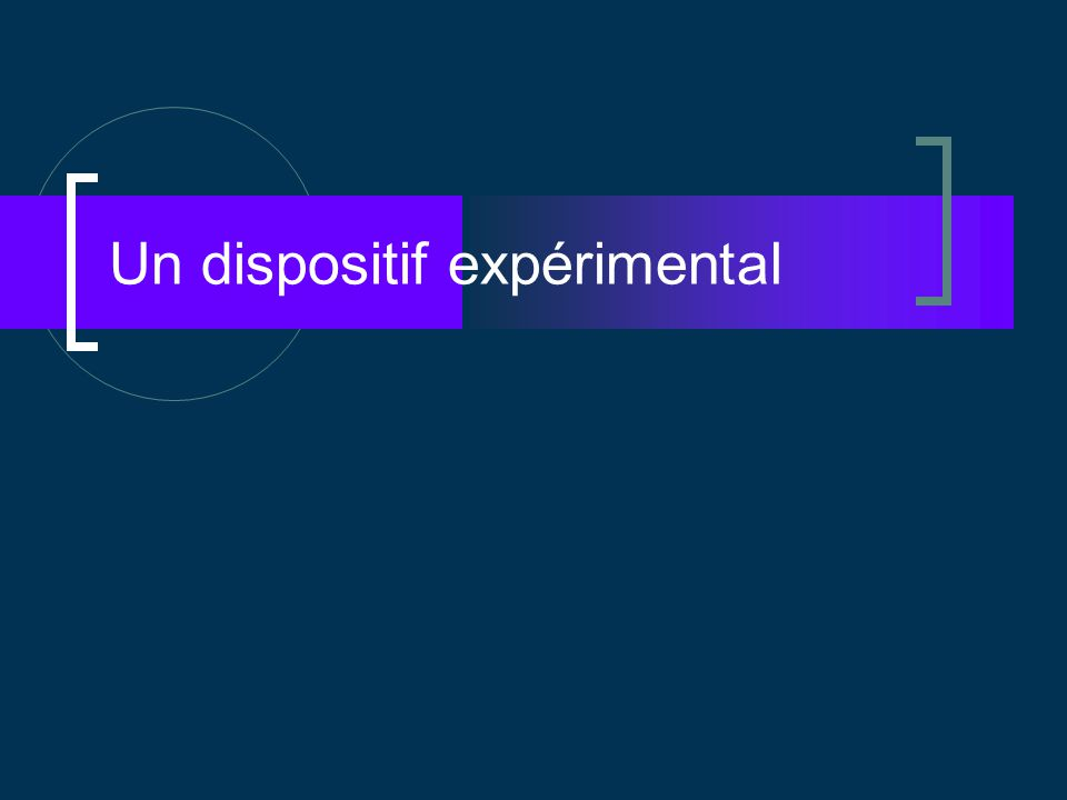 Un dispositif expérimental