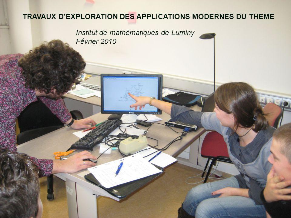 TRAVAUX D'EXPLORATION DES APPLICATIONS MODERNES DU THEME Institut de mathématiques de Luminy Février 2010