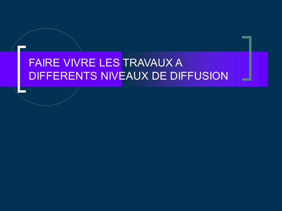FAIRE VIVRE LES TRAVAUX A DIFFERENTS NIVEAUX DE DIFFUSION