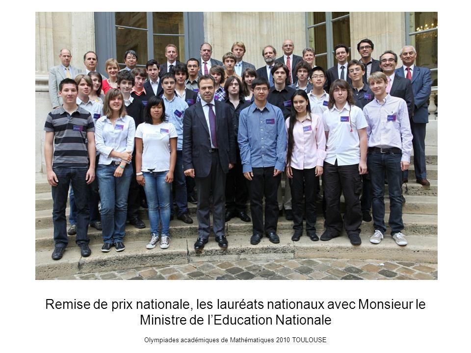 Olympiades académiques de Mathématiques 2010 TOULOUSE Remise de prix nationale, les lauréats nationaux avec Monsieur le Ministre de l'Education Nationale