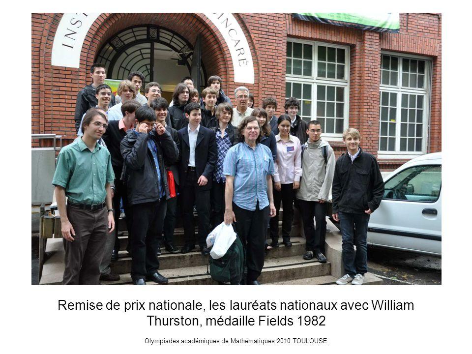 Olympiades académiques de Mathématiques 2010 TOULOUSE Remise de prix nationale, les lauréats nationaux avec William Thurston, médaille Fields 1982