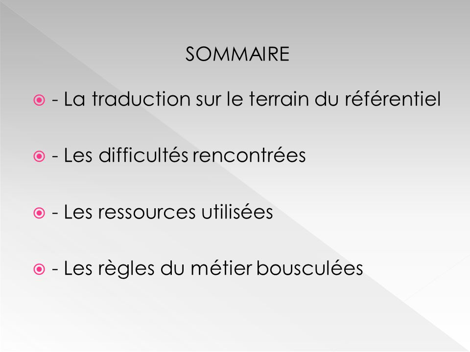 SOMMAIRE  - La traduction sur le terrain du référentiel  - Les difficultés rencontrées  - Les ressources utilisées  - Les règles du métier bousculées