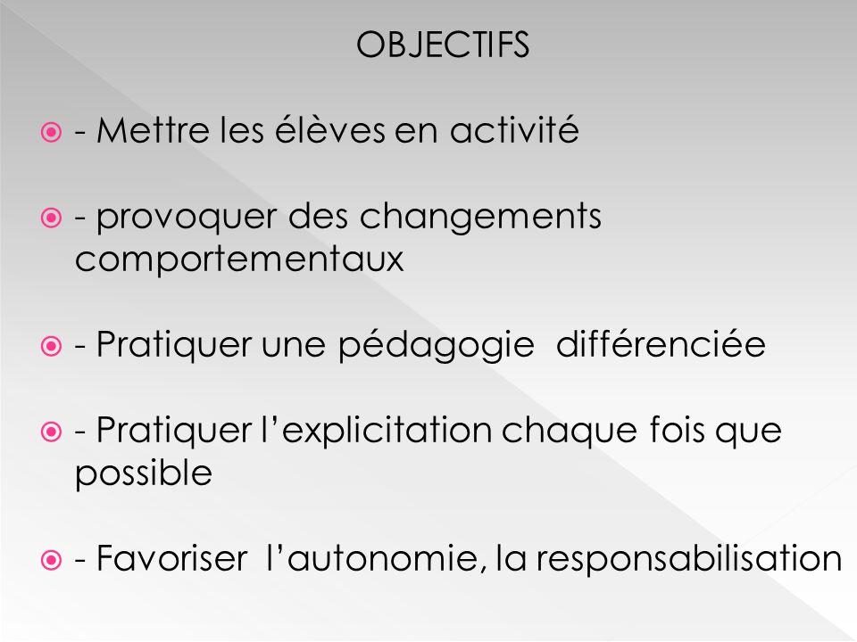 OBJECTIFS  - Mettre les élèves en activité  - provoquer des changements comportementaux  - Pratiquer une pédagogie différenciée  - Pratiquer l'explicitation chaque fois que possible  - Favoriser l'autonomie, la responsabilisation