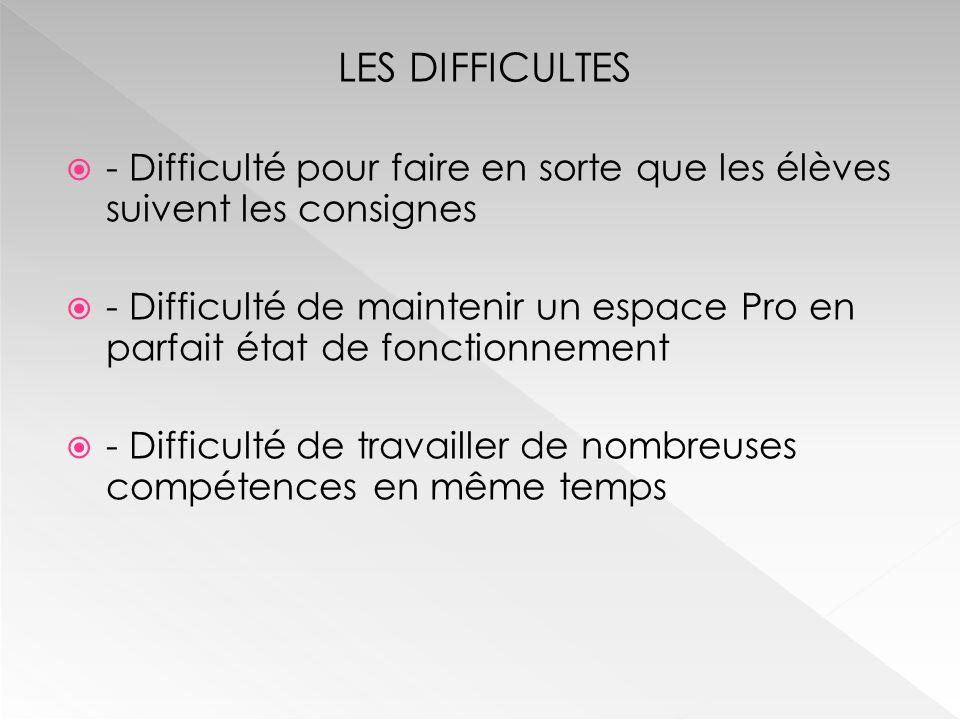 LES DIFFICULTES  - Difficulté pour faire en sorte que les élèves suivent les consignes  - Difficulté de maintenir un espace Pro en parfait état de f