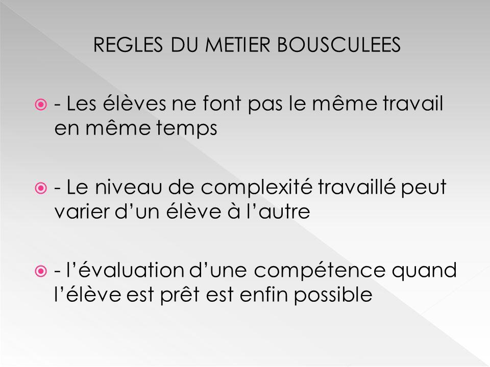 REGLES DU METIER BOUSCULEES  - Le travail en amont  - La concertation  - L'opportunisme pédagogique