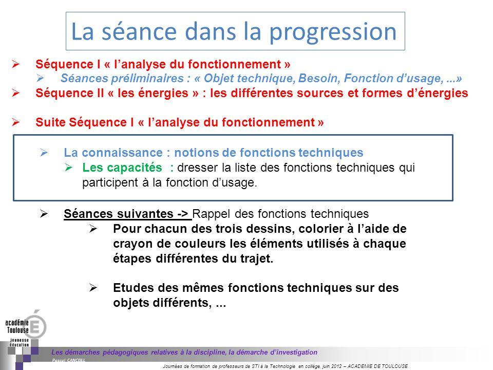 Journées de formation de professeurs de STI à la Technologie en collège, juin 2012 – ACADEMIE DE TOULOUSE Les démarches pédagogiques relatives à la di