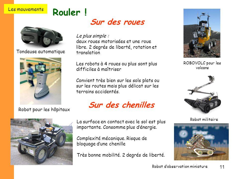 11 Rouler ! Sur des roues ROBOVOLC pour les volcans Tondeuse automatique Robot pour les hôpitaux Le plus simple : deux roues motorisées et une roue li