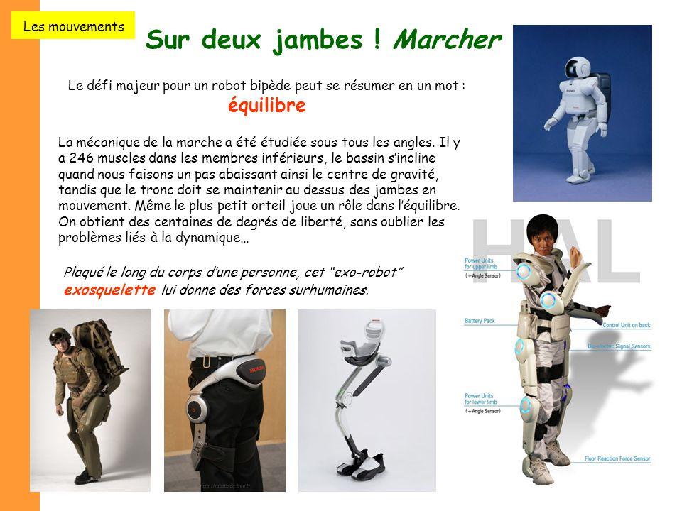 """13 Sur deux jambes ! Marcher Le défi majeur pour un robot bipède peut se résumer en un mot : équilibre Plaqué le long du corps d'une personne, cet """"ex"""