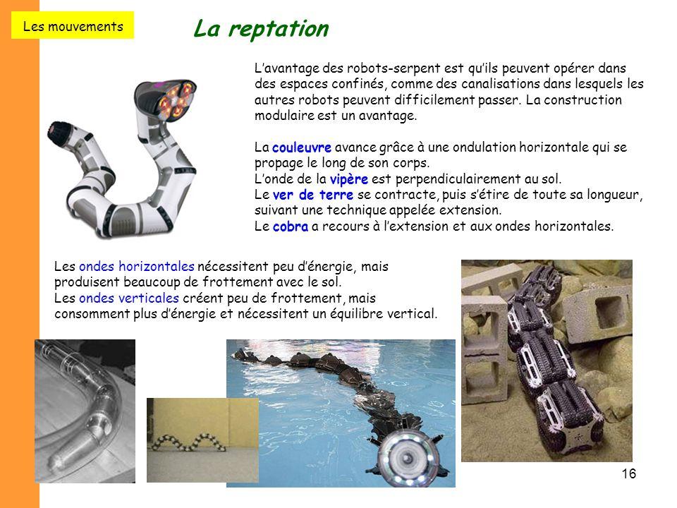 16 La reptation L'avantage des robots-serpent est qu'ils peuvent opérer dans des espaces confinés, comme des canalisations dans lesquels les autres ro