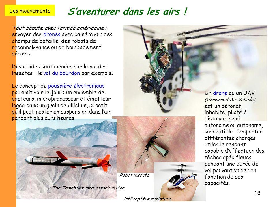 18 S'aventurer dans les airs ! Tout débute avec l'armée américaine : envoyer des drones avec caméra sur des champs de bataille, des robots de reconnai