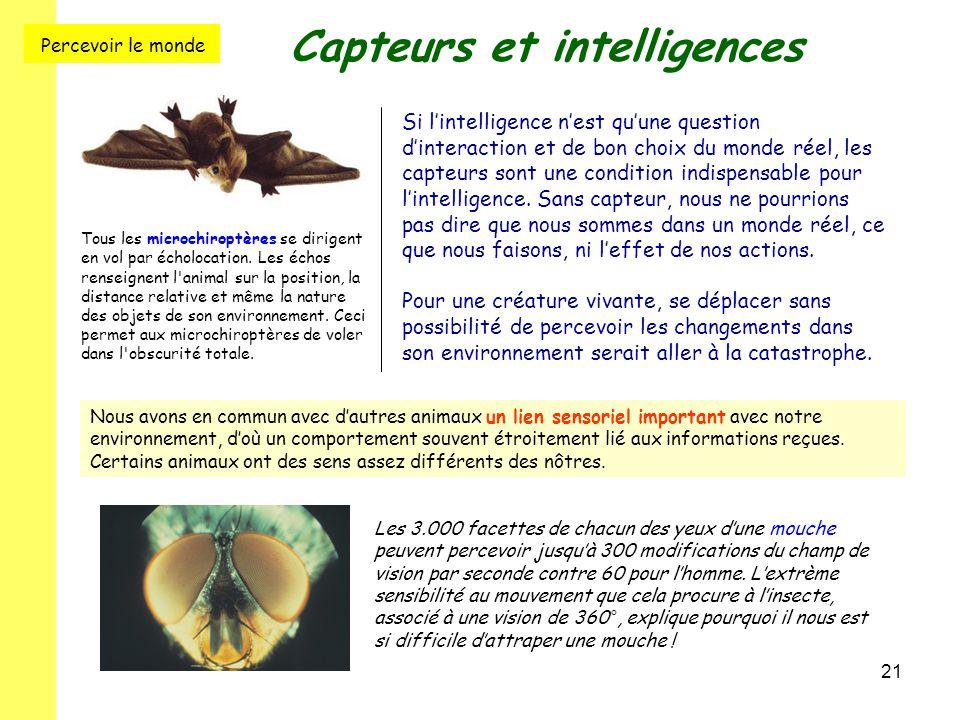 21 Capteurs et intelligences Si l'intelligence n'est qu'une question d'interaction et de bon choix du monde réel, les capteurs sont une condition indi