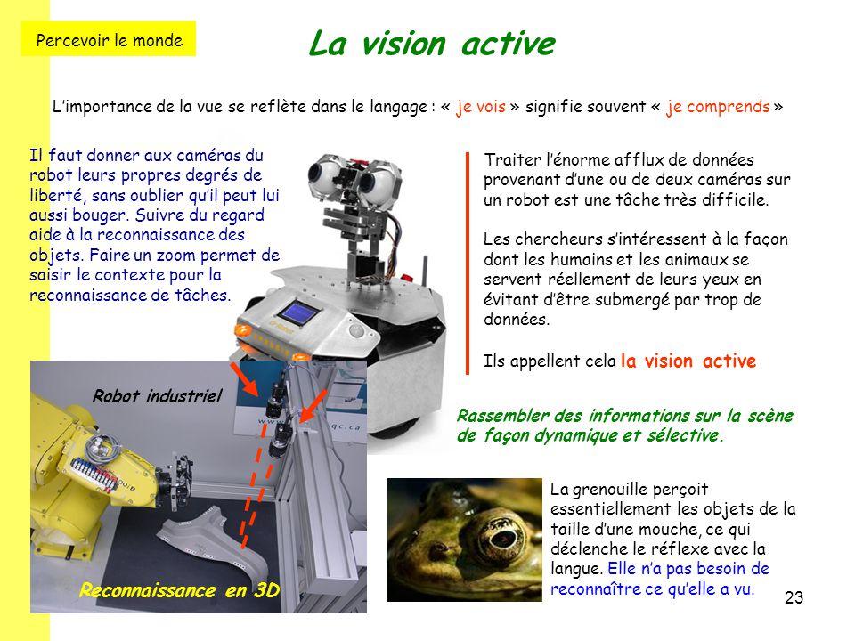 23 La vision active L'importance de la vue se reflète dans le langage : « je vois » signifie souvent « je comprends » Traiter l'énorme afflux de donné