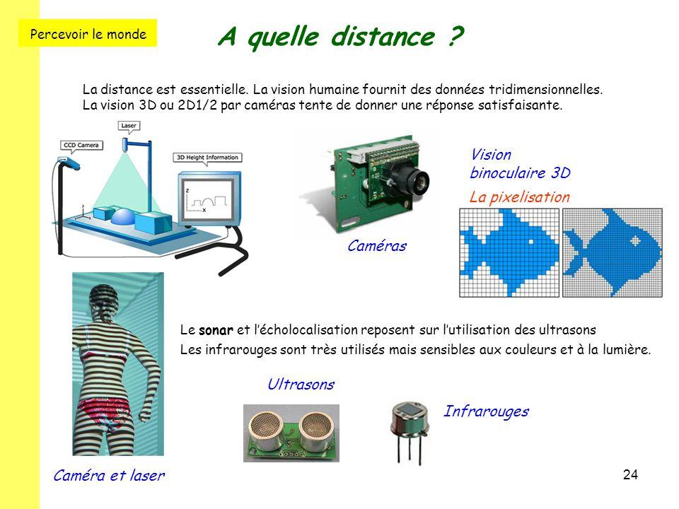 24 A quelle distance ? La distance est essentielle. La vision humaine fournit des données tridimensionnelles. La vision 3D ou 2D1/2 par caméras tente