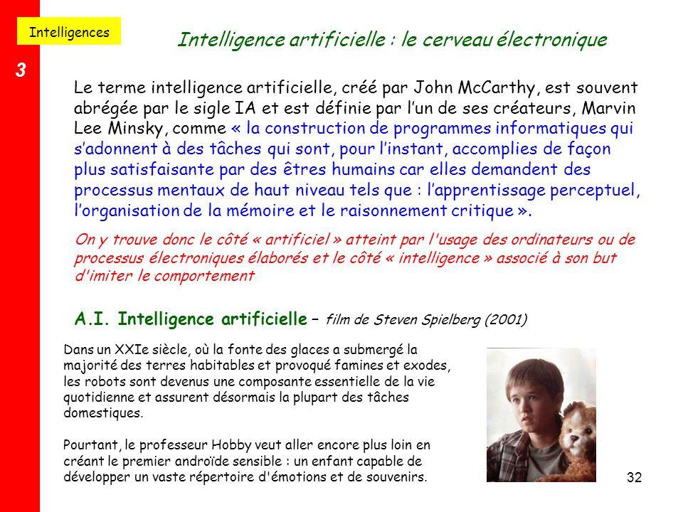 32 Le terme intelligence artificielle, créé par John McCarthy, est souvent abrégée par le sigle IA et est définie par l'un de ses créateurs, Marvin Le