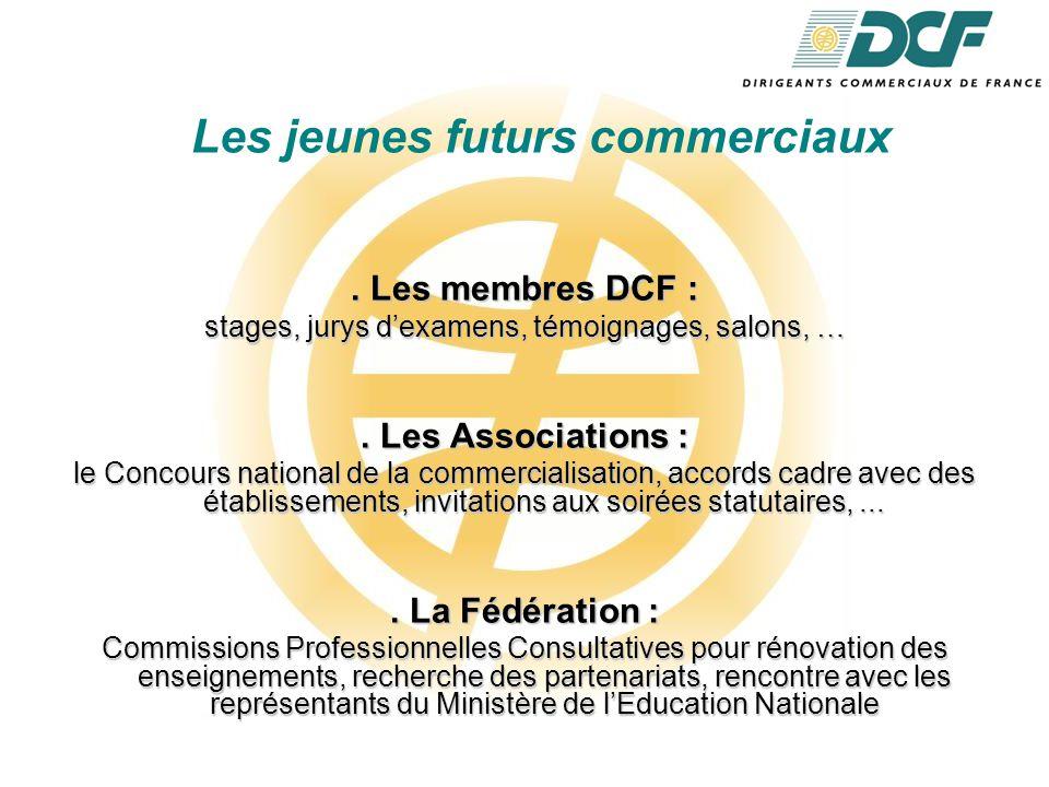 Les jeunes futurs commerciaux. Les membres DCF : stages, jurys d'examens, témoignages, salons, ….