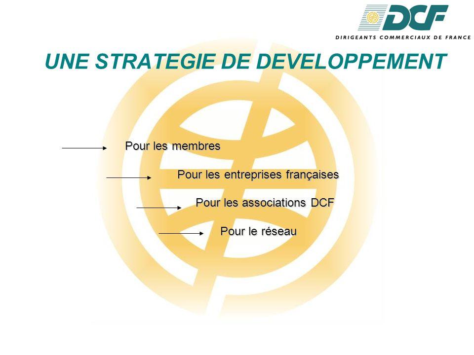 UNE STRATEGIE DE DEVELOPPEMENT Pour les membres Pour les entreprises françaises Pour les associations DCF Pour les associations DCF Pour le réseau