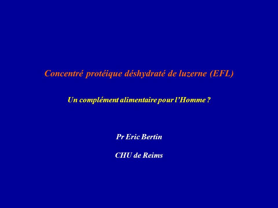 Concentré protéique déshydraté de luzerne (EFL) Un complément alimentaire pour l'Homme ? Pr Eric Bertin CHU de Reims