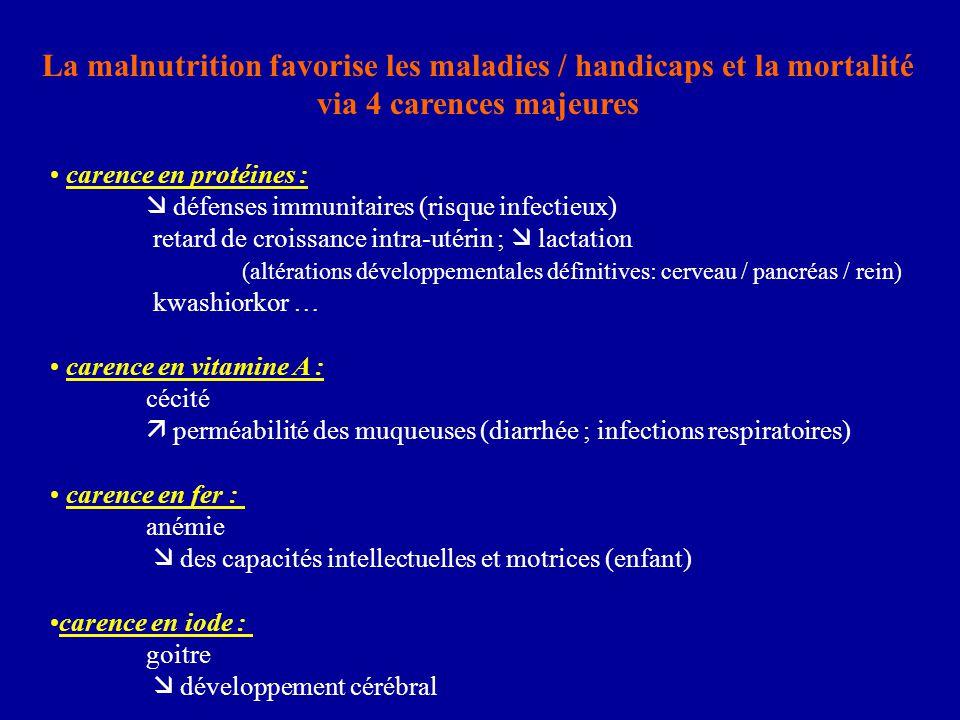 La malnutrition favorise les maladies / handicaps et la mortalité via 4 carences majeures carence en protéines :  défenses immunitaires (risque infec