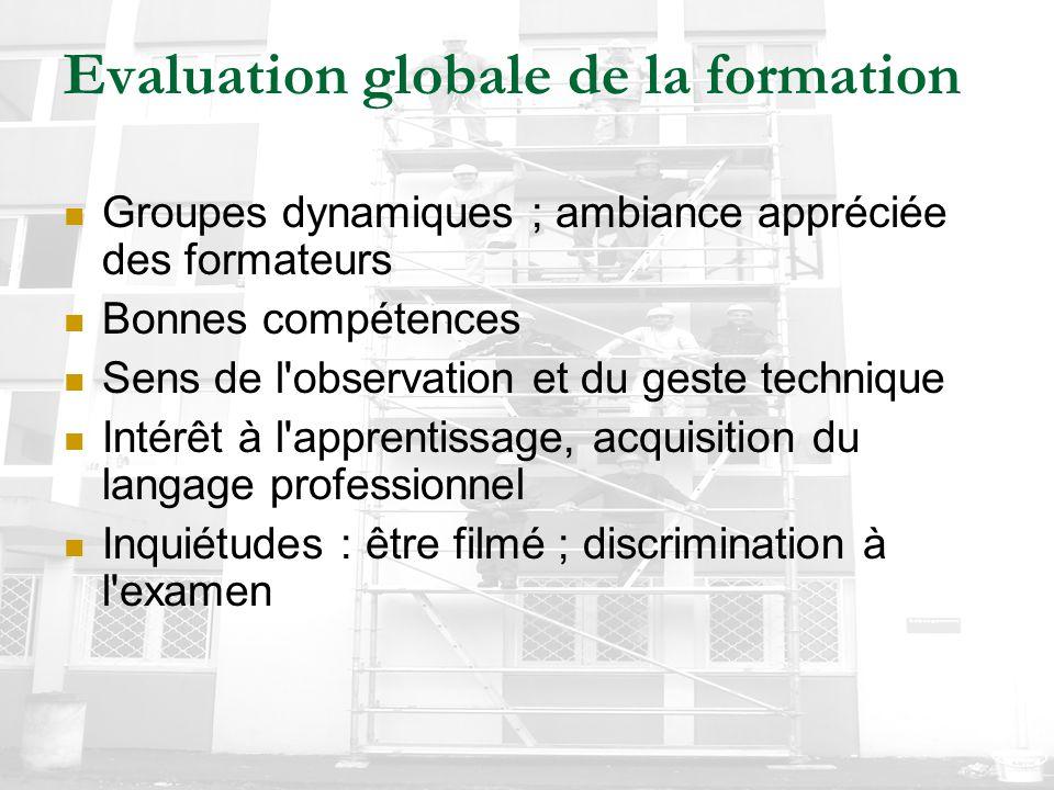 Evaluation globale de la formation Groupes dynamiques ; ambiance appréciée des formateurs Bonnes compétences Sens de l'observation et du geste techniq