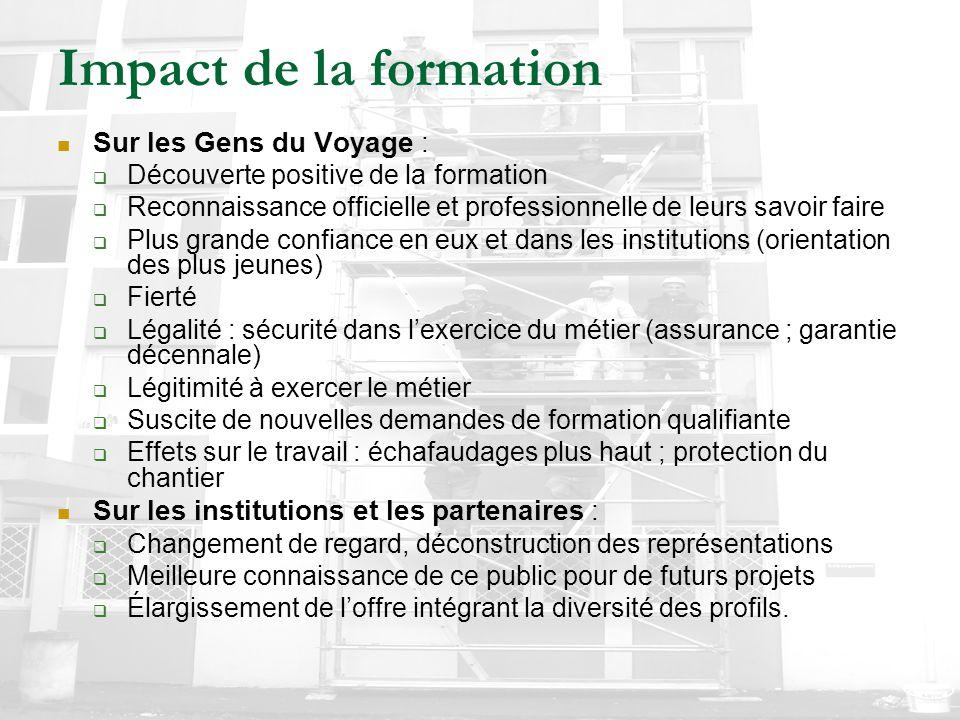 Impact de la formation Sur les Gens du Voyage :  Découverte positive de la formation  Reconnaissance officielle et professionnelle de leurs savoir f