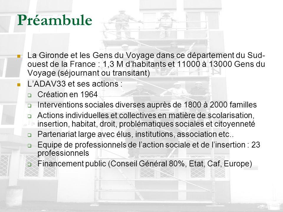 Préambule La Gironde et les Gens du Voyage dans ce département du Sud- ouest de la France : 1,3 M d'habitants et 11000 à 13000 Gens du Voyage (séjourn