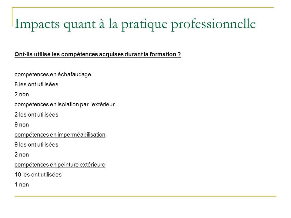 Impacts quant à la pratique professionnelle Ont-ils utilisé les compétences acquises durant la formation ? compétences en échafaudage 8 les ont utilis