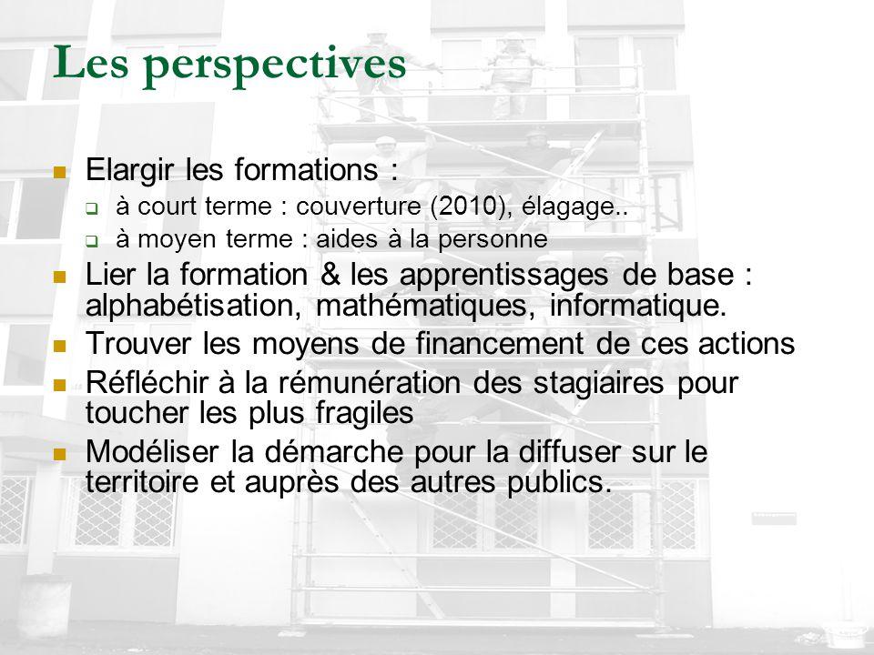 Les perspectives Elargir les formations :  à court terme : couverture (2010), élagage..  à moyen terme : aides à la personne Lier la formation & les
