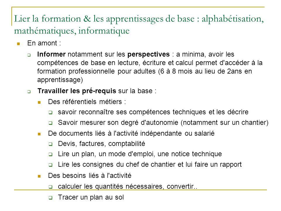 Lier la formation & les apprentissages de base : alphabétisation, mathématiques, informatique En amont :  Informer notamment sur les perspectives : a
