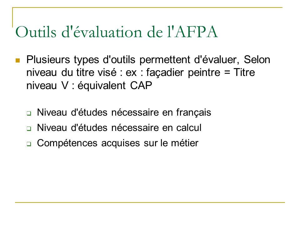 Outils d'évaluation de l'AFPA Plusieurs types d'outils permettent d'évaluer, Selon niveau du titre visé : ex : façadier peintre = Titre niveau V : équ