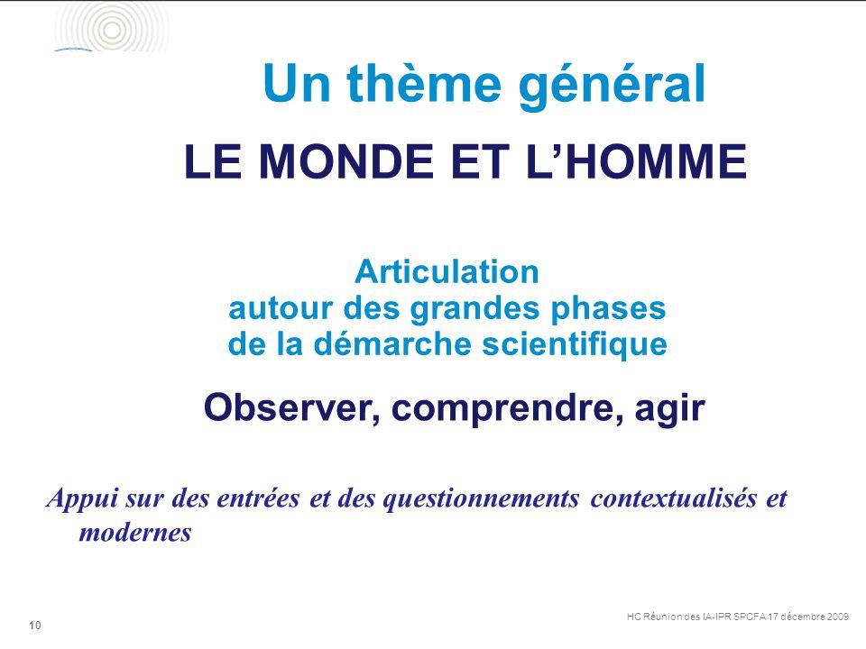 Un thème général HC Réunion des IA-IPR SPCFA 17 décembre 2009 10 LE MONDE ET L'HOMME Observer, comprendre, agir Articulation autour des grandes phases de la démarche scientifique Appui sur des entrées et des questionnements contextualisés et modernes