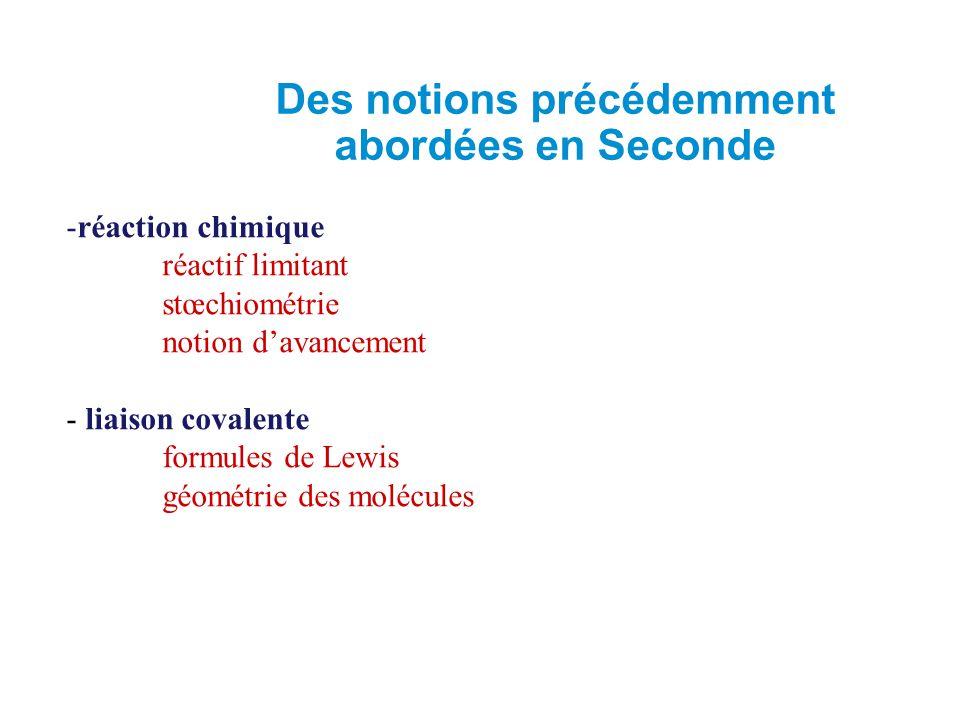 -réaction chimique réactif limitant stœchiométrie notion d'avancement - liaison covalente formules de Lewis géométrie des molécules Des notions précédemment abordées en Seconde
