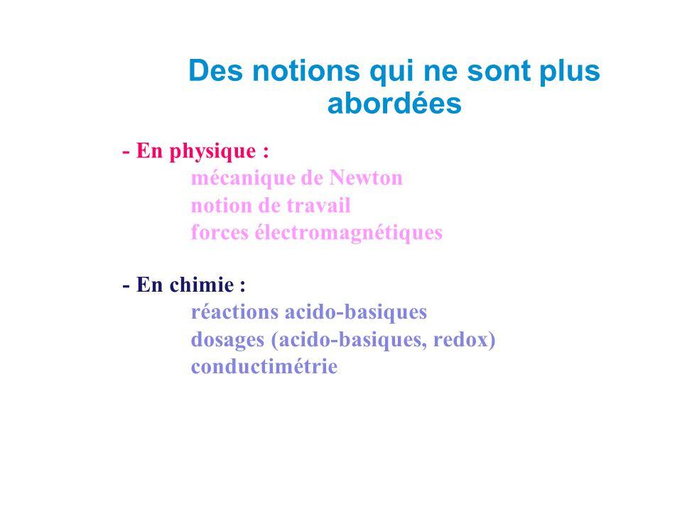 - En physique : mécanique de Newton notion de travail forces électromagnétiques - En chimie : réactions acido-basiques dosages (acido-basiques, redox) conductimétrie Des notions qui ne sont plus abordées