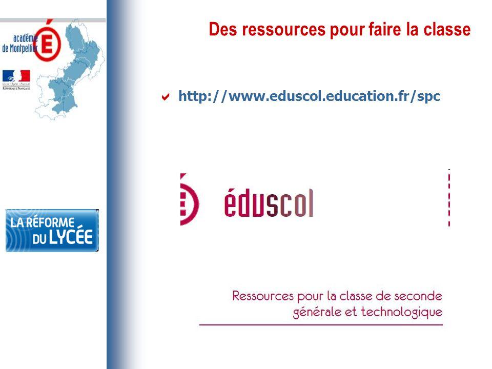 Des ressources pour faire la classe  http://www.eduscol.education.fr/spc