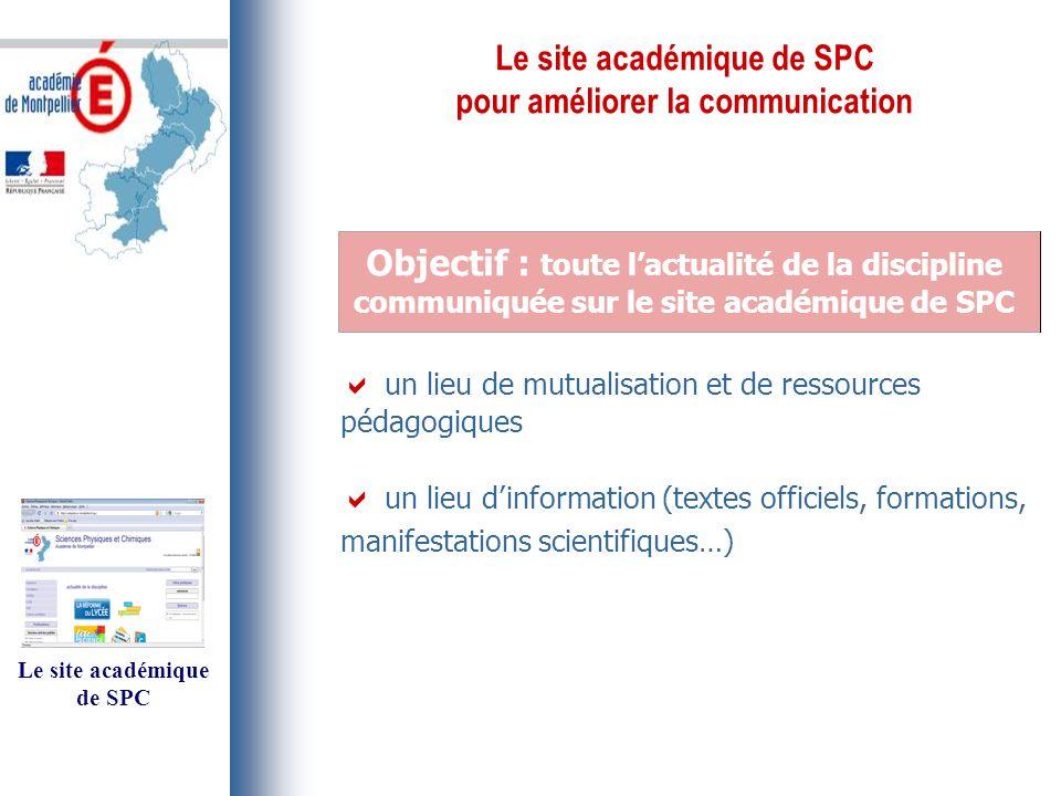 Le site académique de SPC pour améliorer la communication Objectif : toute l'actualité de la discipline communiquée sur le site académique de SPC  un