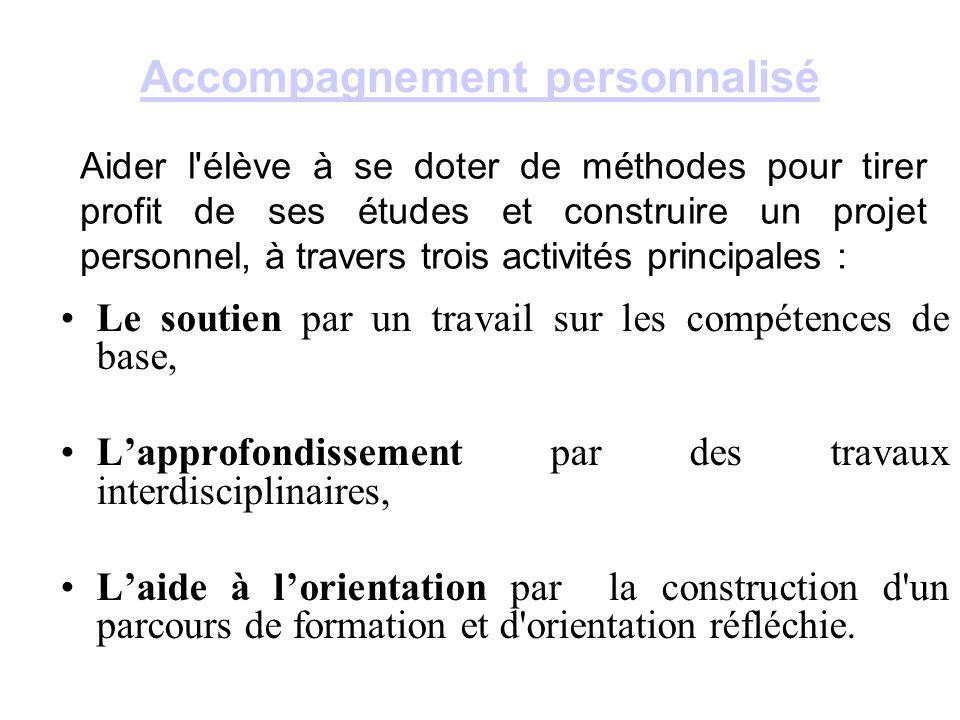 Accompagnement personnalisé Le soutien par un travail sur les compétences de base, L'approfondissement par des travaux interdisciplinaires, L'aide à l