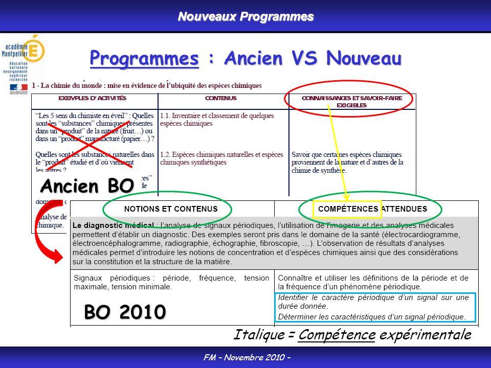 Programmes : Ancien VS Nouveau Nouveaux Programmes FM - Novembre 2010 - BO 2010 Italique = Compétence expérimentale Ancien BO