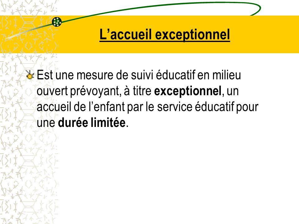 L'accueil exceptionnel Est une mesure de suivi éducatif en milieu ouvert prévoyant, à titre exceptionnel, un accueil de l'enfant par le service éducatif pour une durée limitée.