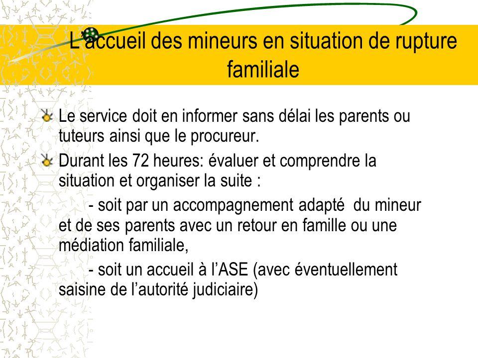 L'accueil des mineurs en situation de rupture familiale Le service doit en informer sans délai les parents ou tuteurs ainsi que le procureur.