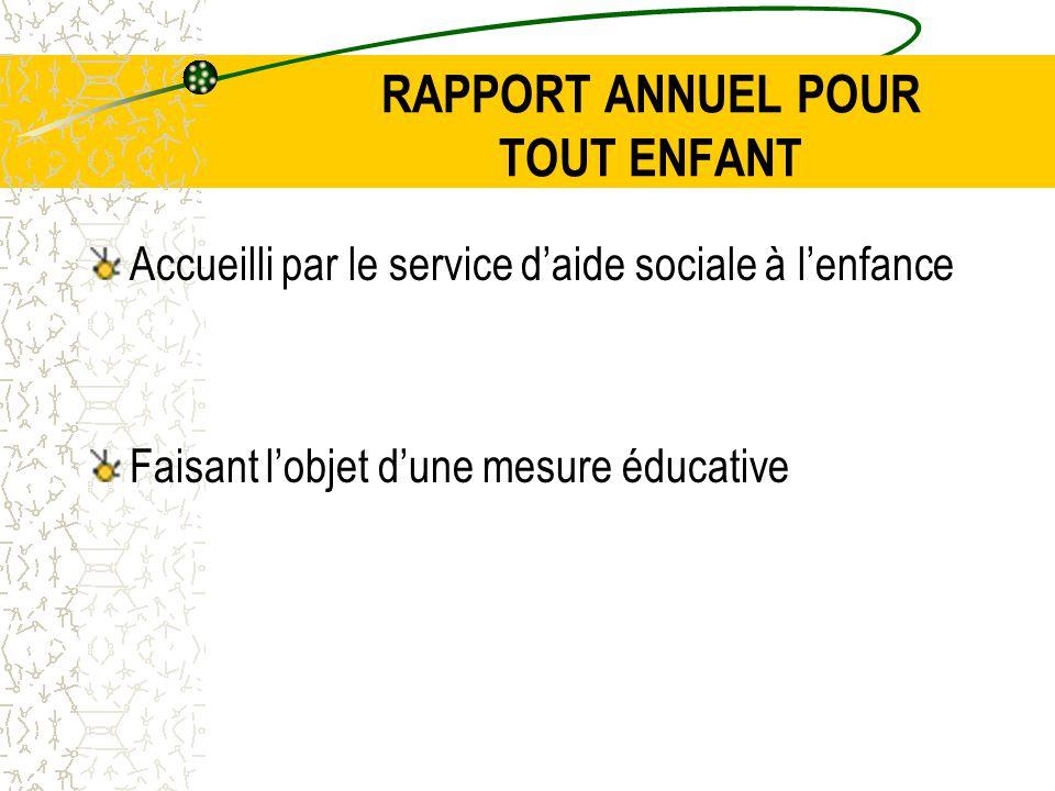 RAPPORT ANNUEL POUR TOUT ENFANT Accueilli par le service d'aide sociale à l'enfance Faisant l'objet d'une mesure éducative