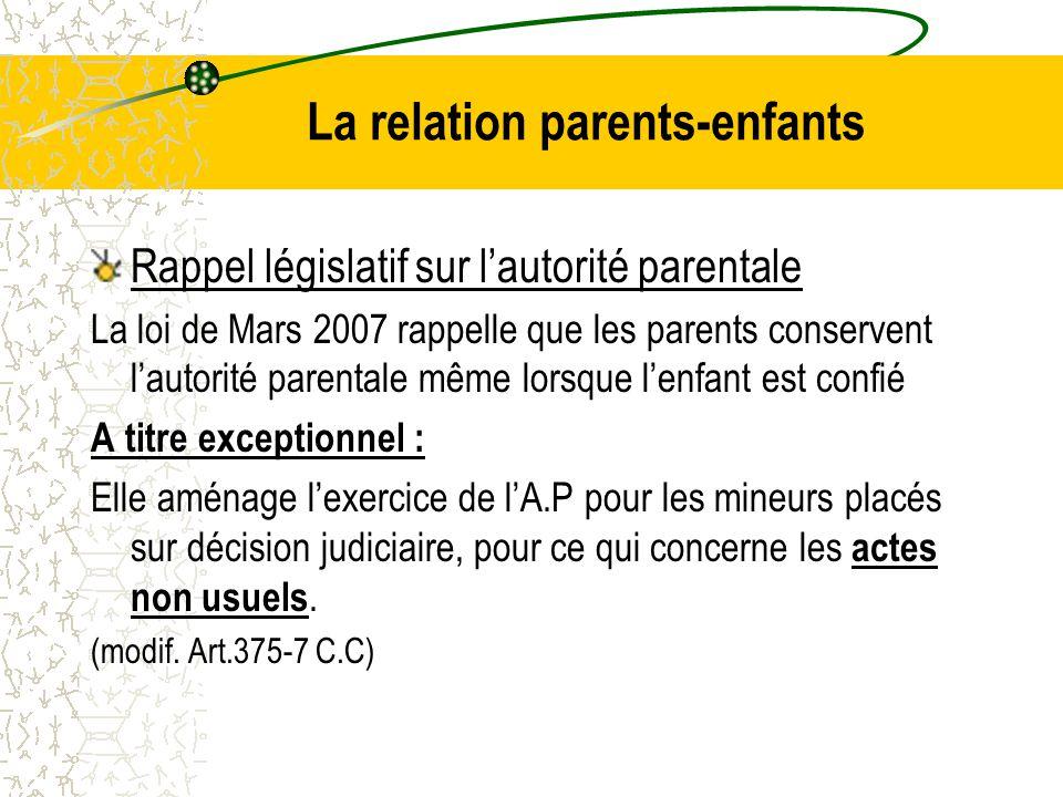 La relation parents-enfants Rappel législatif sur l'autorité parentale La loi de Mars 2007 rappelle que les parents conservent l'autorité parentale même lorsque l'enfant est confié A titre exceptionnel : Elle aménage l'exercice de l'A.P pour les mineurs placés sur décision judiciaire, pour ce qui concerne les actes non usuels.