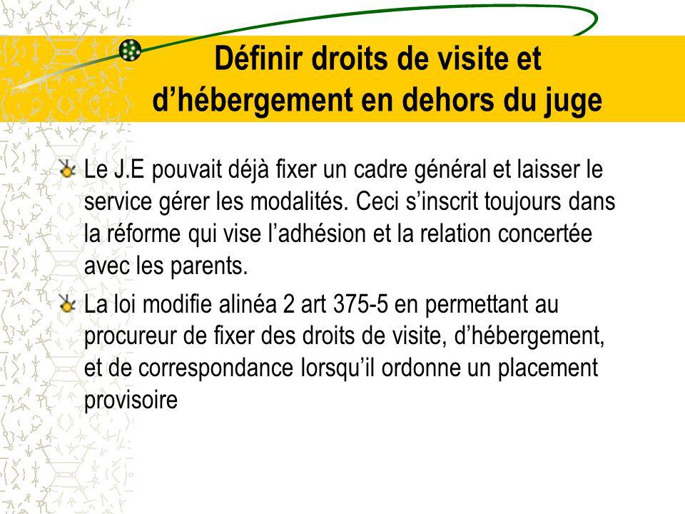 Définir droits de visite et d'hébergement en dehors du juge Le J.E pouvait déjà fixer un cadre général et laisser le service gérer les modalités.